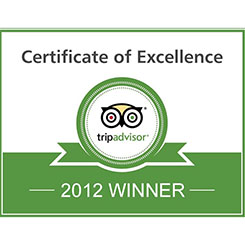 TripAdvisor Certificate of Excellence Award, 2012, Worldwide