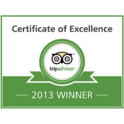 TripAdvisor Certificate of Excellence Award, 2013, Worldwide