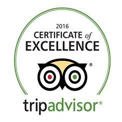 Tripadvisor Certificate Of Excellence Award, 2016, Worldwide